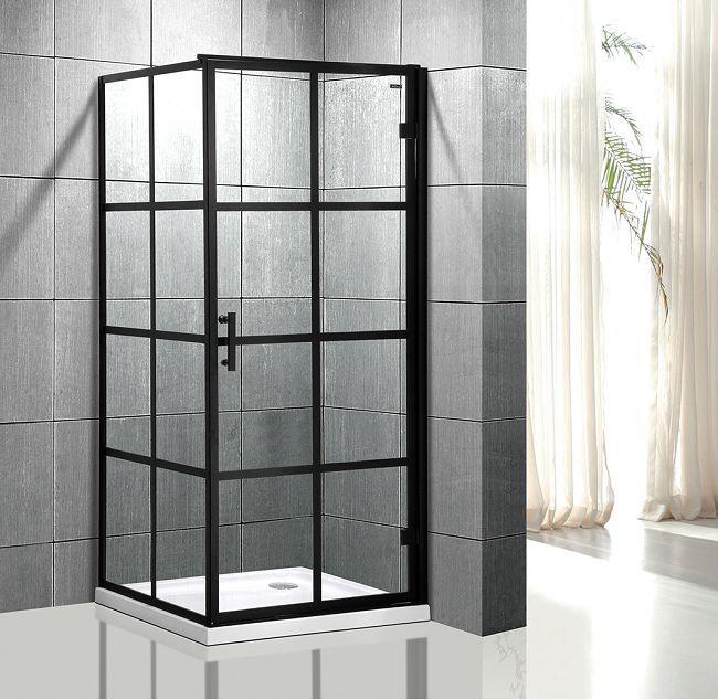 Kanon Svart duschvägg med dörr - Aluminiumspröjs (Badrum) | Trygghan AB-14