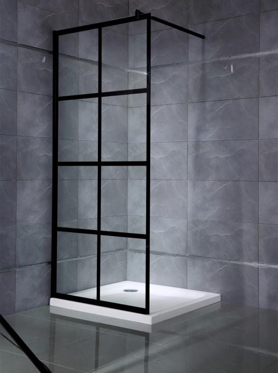 Omtalade Svart duschvägg med aluminiumspröjs (Badrum) | Trygghandel.se LM-15